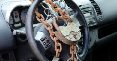 manual lock wrapped around car steering wheel car theft protection concept